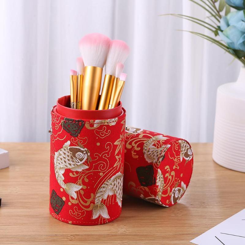 Retro Print Cloth Makeup Brush Holder Travel Cosmetic Pens Storage Cup Box