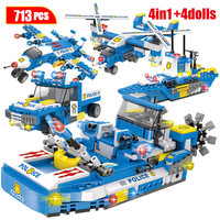 713pcs City Police Trucks Car Helicopter Building Blocks Legoingly City SWAT Team Police Boat Bricks Educational Toy For Boys