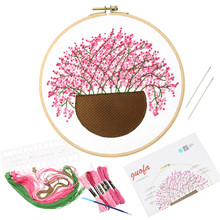 22.85cm Flower Blossom Embroidery Kits Handwork Needlework for Beginner Cross Stitch Kits Quilting Embroidery Kits Decoration