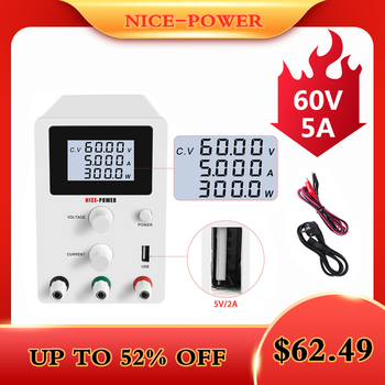 LCD Screen DC Lab Bench Power Supply 30v 10a 60v 5a Adjustable Switching Bench Source Digital Voltage Regulator 0.001A 120V 3A image