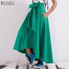 ZANZEA – Robe longue à taille haute pour Femme, tenue de printemps Maxi avec nœud papillon, couleur unie, 2021