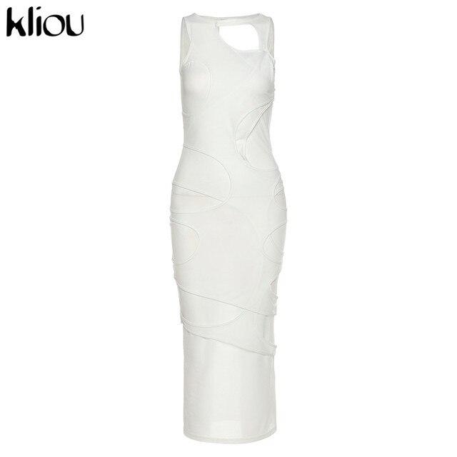 Kliou Sexy Maxi Dress Women Spring Active Irregular Shape Streetwear Sleeveless Skinny Slim Bodycon Vestido Sense of Design Hot 5