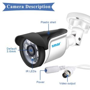 Image 4 - Smar אבטחת CCTV 720P 1080P AHD מצלמה חיצוני עמיד למים Bullet מצלמות יום ולילה מעקב HD 3.6mm עדשת IR לחתוך