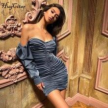 Hugcitar длинное пышными рукавами slash шеи атласное Атлас Плиссированные сексуальные мини-платье на осень-зиму женское Сплошной Вечерние Нарядные элегантное уличная одежда outfi