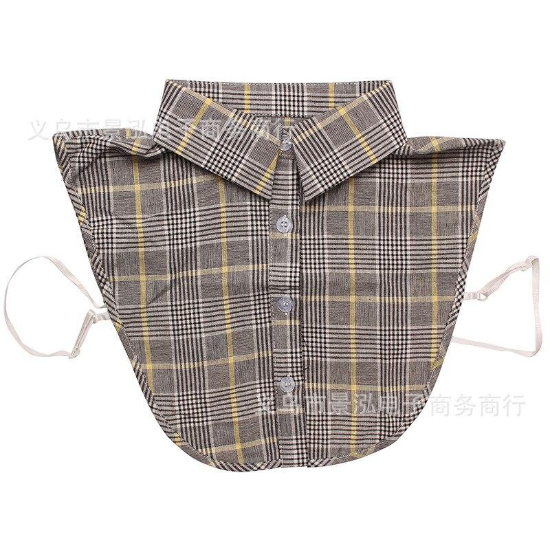 Plaid Cotton Versatile Fake Collar All Seasons Temperment Shirt Collar Colar