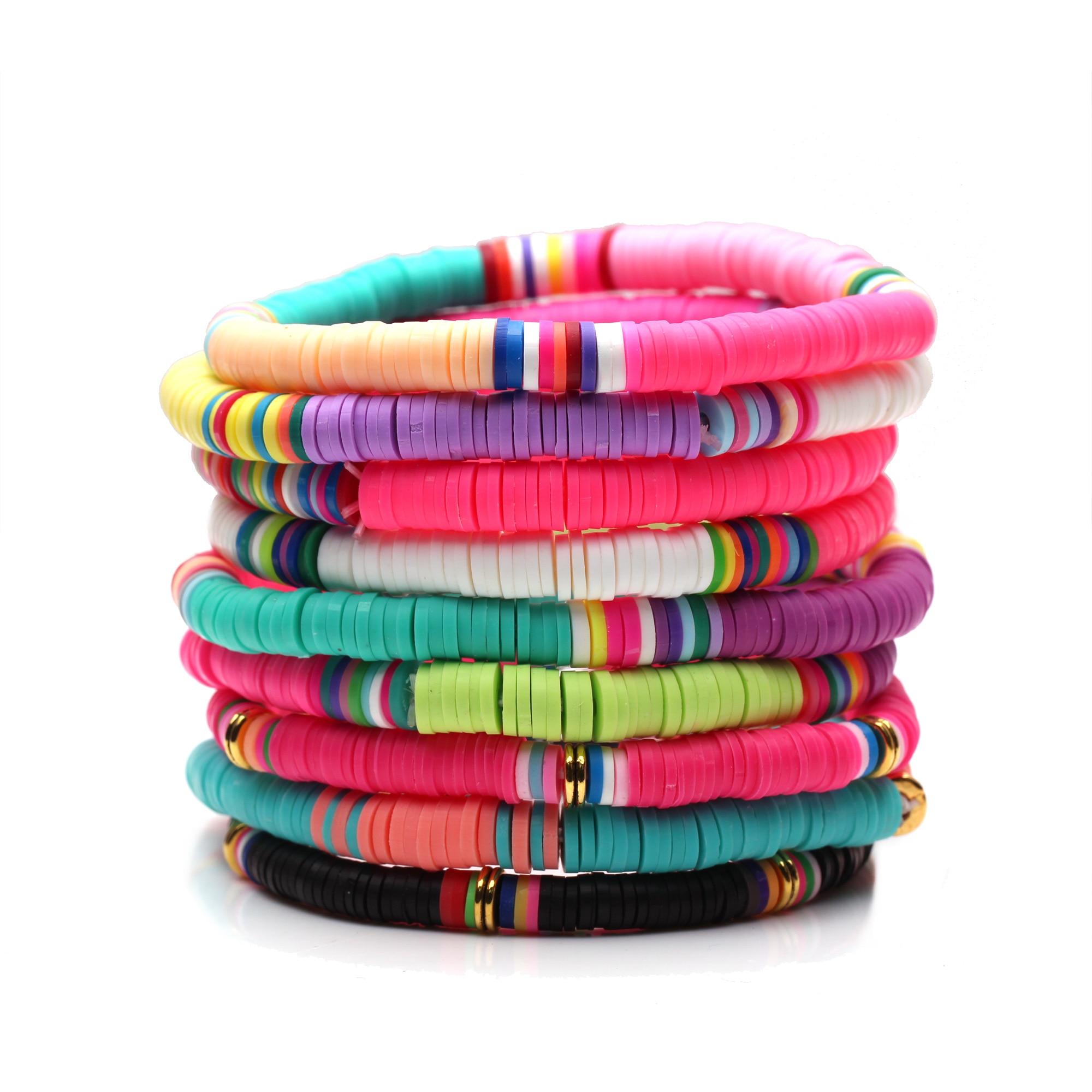 Multicolored Recyclable Polymer Clay Heishi Beads Stretch Bracelet Women Men Boho Pretty Cute Summer Beach Surf Jewelry Present