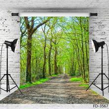 ฤดูใบไม้ผลิต้นไม้ Pathway สีเขียวฉากหลังสตูดิโอถ่ายภาพไวนิลพื้นหลังการถ่ายภาพ Props สำหรับเด็กภาพ Photobooth