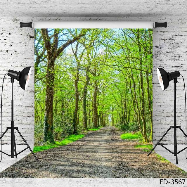 Spring Tree Pathway Green Photo Backdrops Photo Studio Vinyl Backgrounds Photography Props for Children Portrait Photobooth
