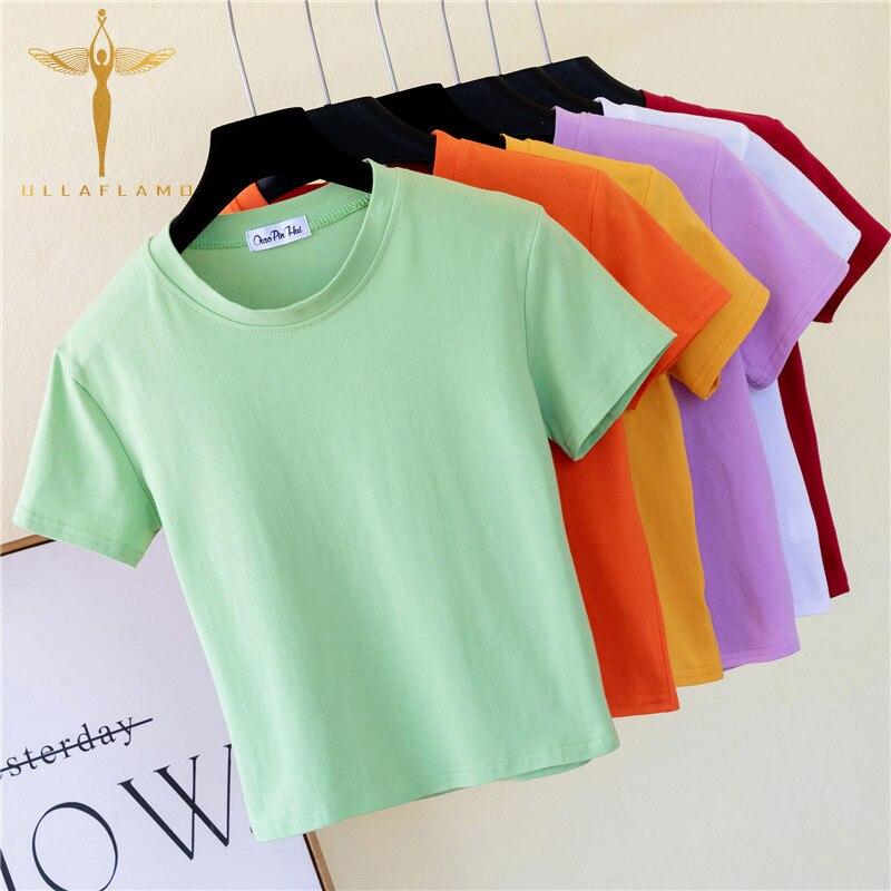 Womens Cotton T-Shirt Summer Slim Femme O-Neck Solid Crop Top High Waist Casual Sports Crop Top Shirt Simple Green Women Tshirt