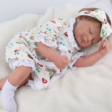 купить 48cm Simulation Baby Doll Toy Can sit and lie down children Gift soft silicone + cotton reborn doll girl Toys real closed eyes по цене 4214.64 рублей