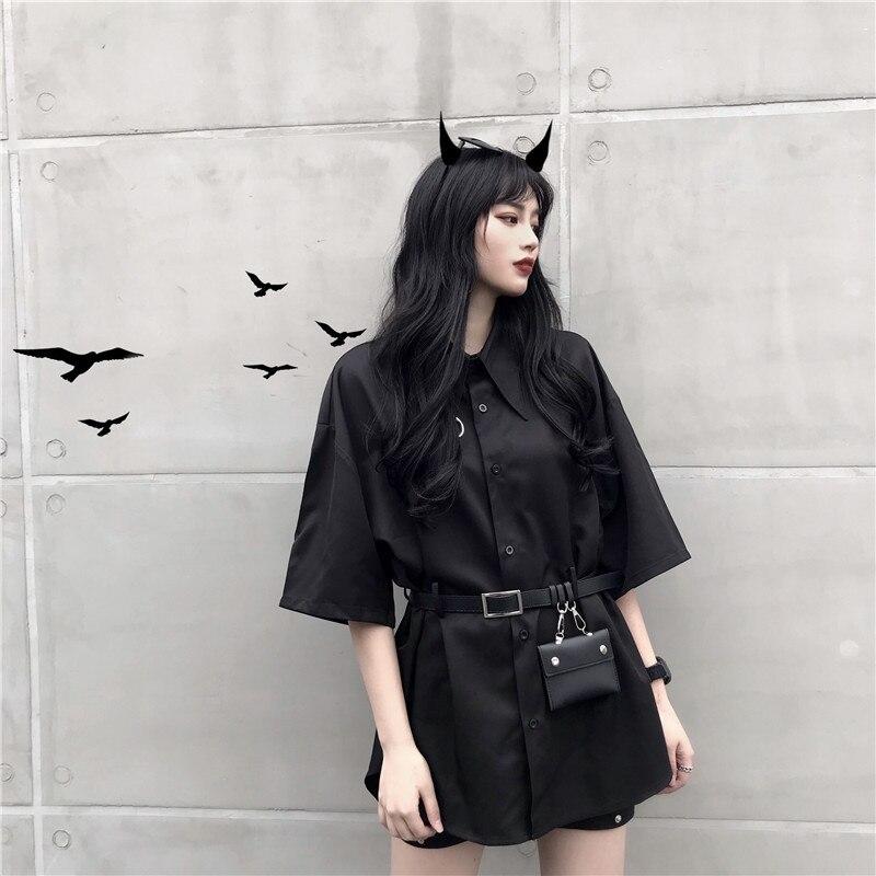 GOTH GIRL Streetwear Punk Blouse Women Harajuku Solid Black Short Sleeve Shirts with Belt Grunge Style Casual Top Shirts Female