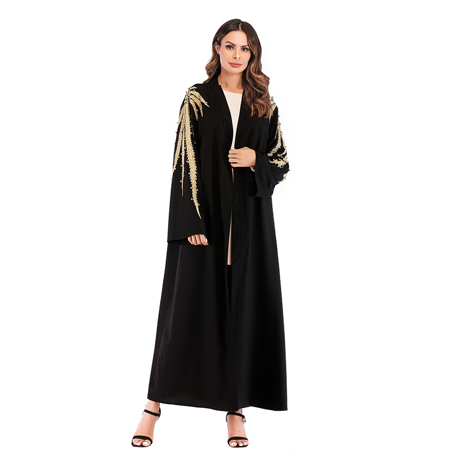 Middle East Muslim Abaya Women Embroidery Beading Jubah Hijab Dress Dubai Kimono Caftan Long Robe Islamic Clothing Elbise Abayas