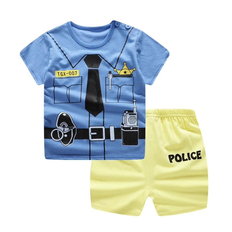 2019 Baby Gentleman Boy Clothing Summer Toddler Kids T-shirt +shorts Clothes Set Baby 9M -24M Newborn Baby Girl Clothes