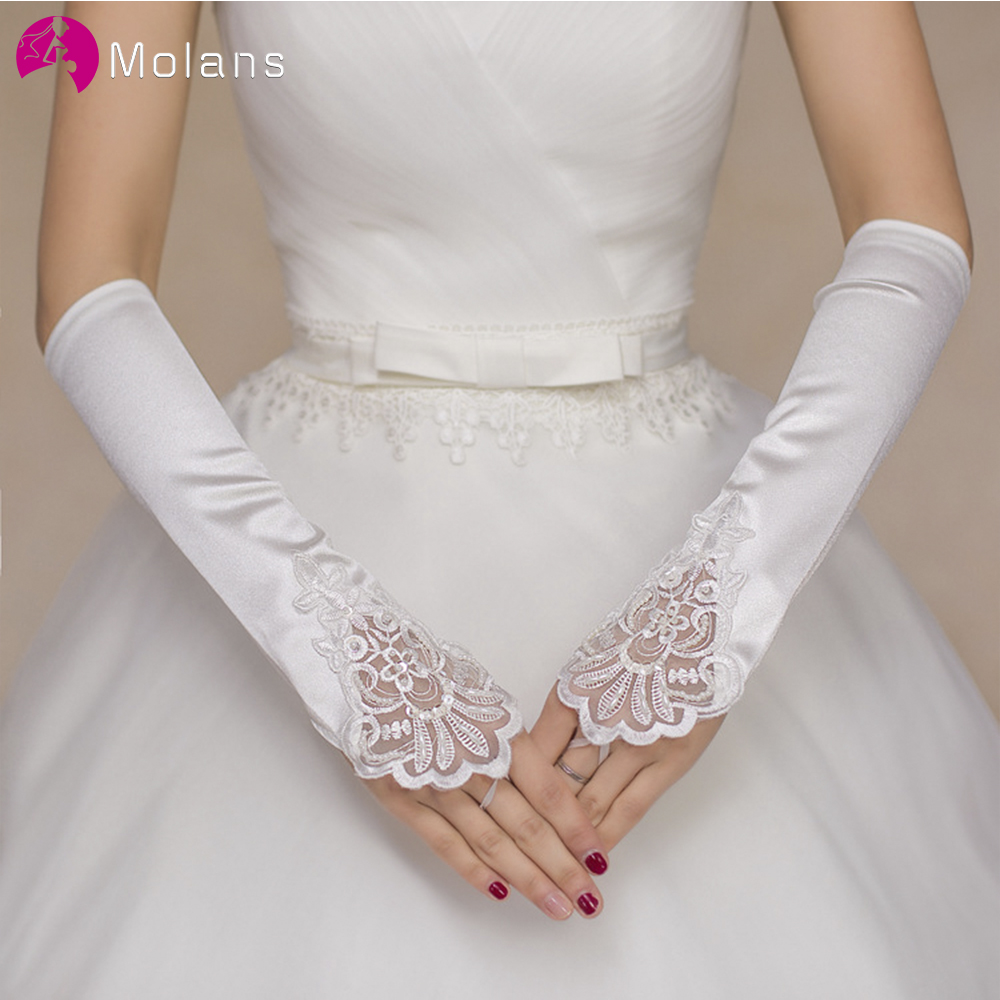 Molans Lace Short Ivory Fingerless Fashion Flower Girl Bridesmaid Lady Women Dancing Party Performance Wedding Gloves