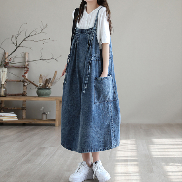 NINI WONDERLAND 2021 Summer Cotton Denim Midi Dress Women's Spaghetti Strap Loose Dress Korean Style Casual Dresses Big Size 4