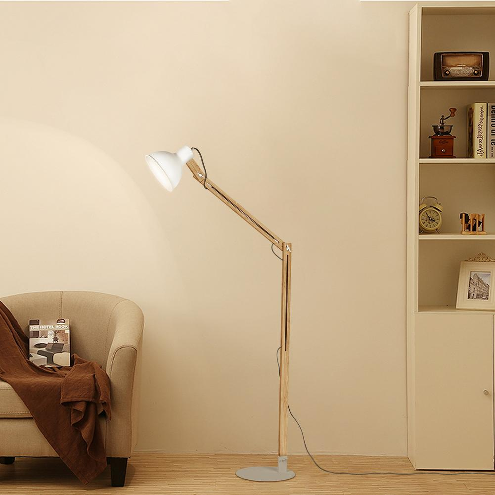 US Plug Modern LED Floor <font><b>Lamp</b></font> 2 Color Nordic Office Decor Floor Lights <font><b>Standing</b></font> <font><b>Lamps</b></font> for Living Room Chrome Wooden Floor Light image