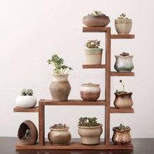 Твердая древесина настольная подставка для цветов для помещений многослойная маленькая полка для растений зеленая Цветочная рамка украшение для гостиной оконная полка для горшка