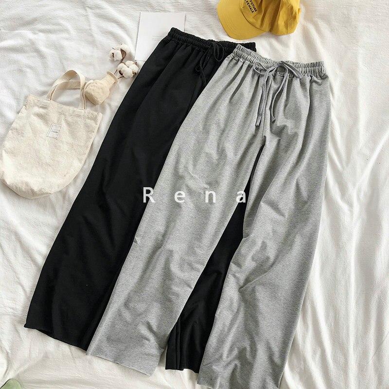 Summer Thin Women Sweatpants Elastic Waist High Waist Gray Black Cotton Pants