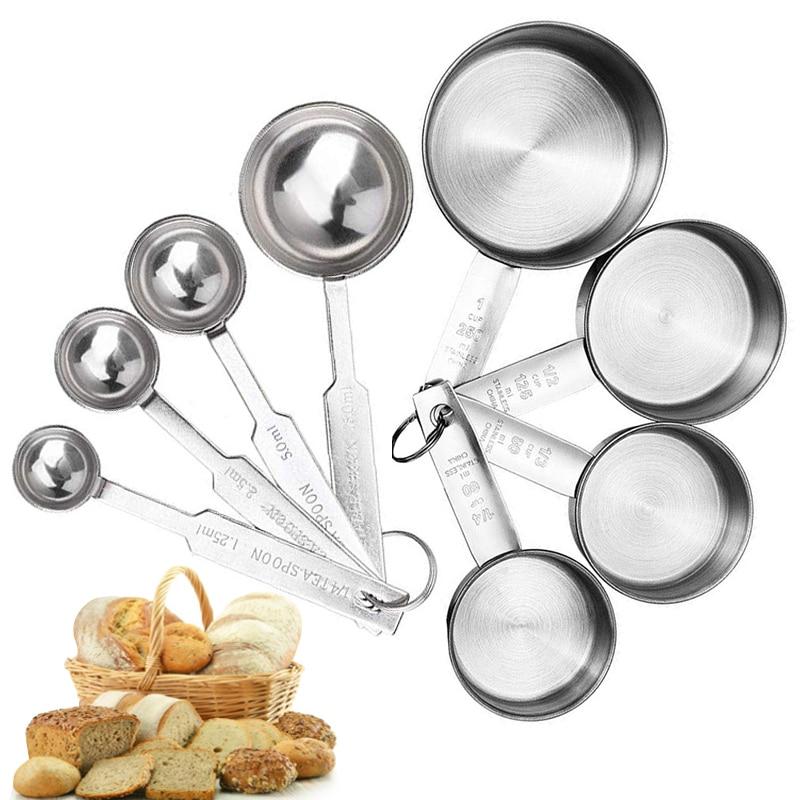 Мерные чашки стекируемые Кухня мерная ложка набор Нержавеющаясталь ложки дома мерные чашки и ложки набор