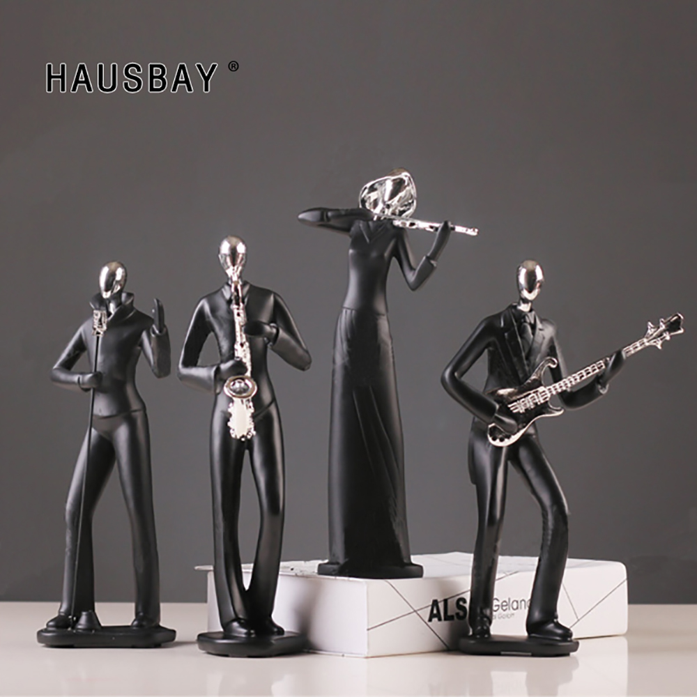 Resin Music Man Statue Sports Man Figurines Creative Crafts Modern Sculpture TV Cabinet Desktop Home Decoration Ornaments D057