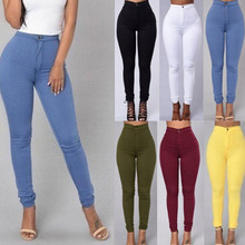 Women Sexy Elastic Wasit Skinny Pencil Pants Candy Color Str