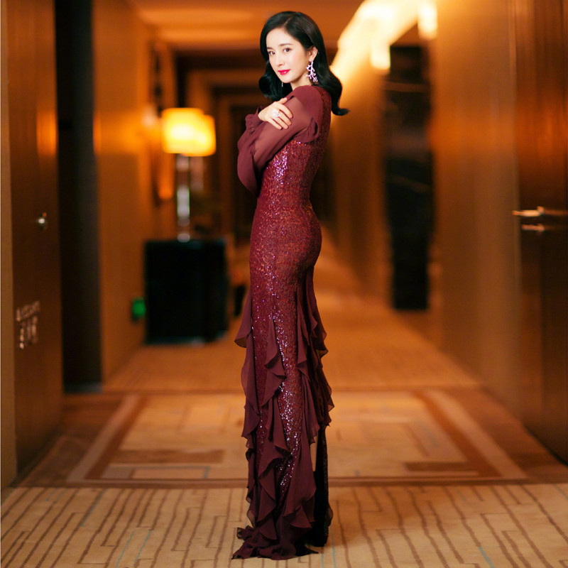 Prom     Dresses   2020 V- Neck Long Sleeves A-Line Sequined Tulle Party   Dresses   Real Photo Robe de soiree