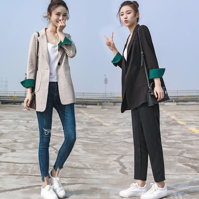 2020 small suit jacket female spring and autumn new mid-long casual casual Korean version of the suit female small jacket