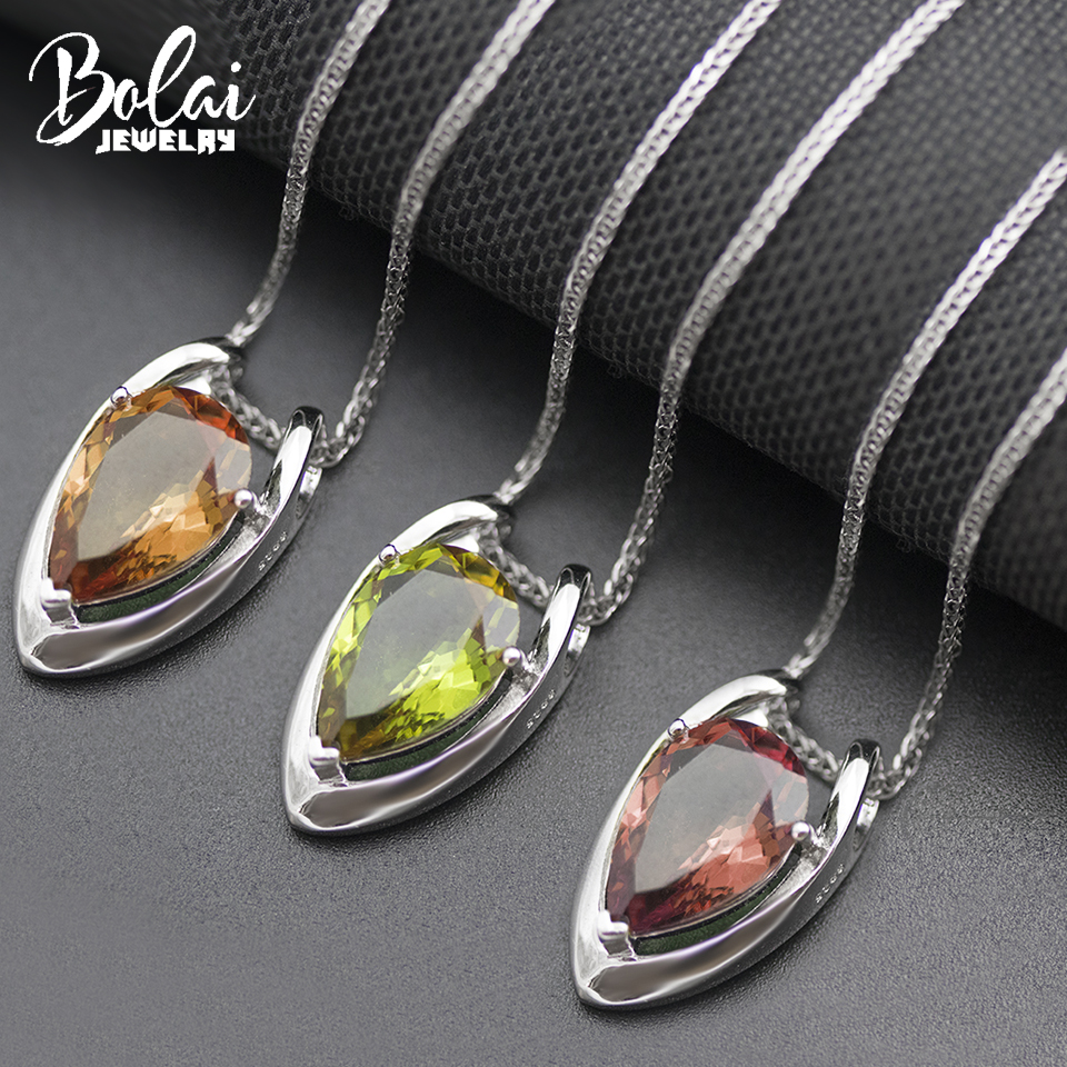 Bolai  V Shape Color Change Diaspore Pendant Necklace Real 925 Sterling Silver Zultanit Gemstone Fine Jewelry For Women 11.11