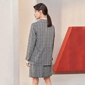 Image 2 - Inman 2020 primavera nova chegada literária retro verificação cinza terno de dois botões saia solto terno