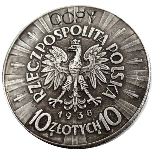 A set of(1934-1939) 6pcs Poland 10 Zlotych Silver Plated Copy Coin