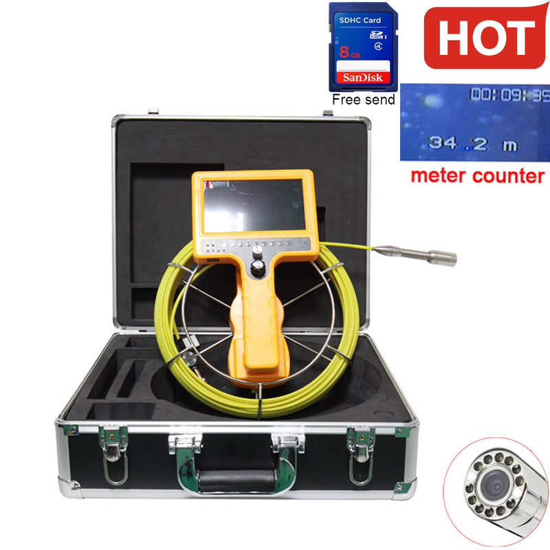 40M dvr Drain Endoscope Pipe Inspection Camera Pipe Sewer Camera Waterproof Pipe Plumbing dvr Camera with meter accounter