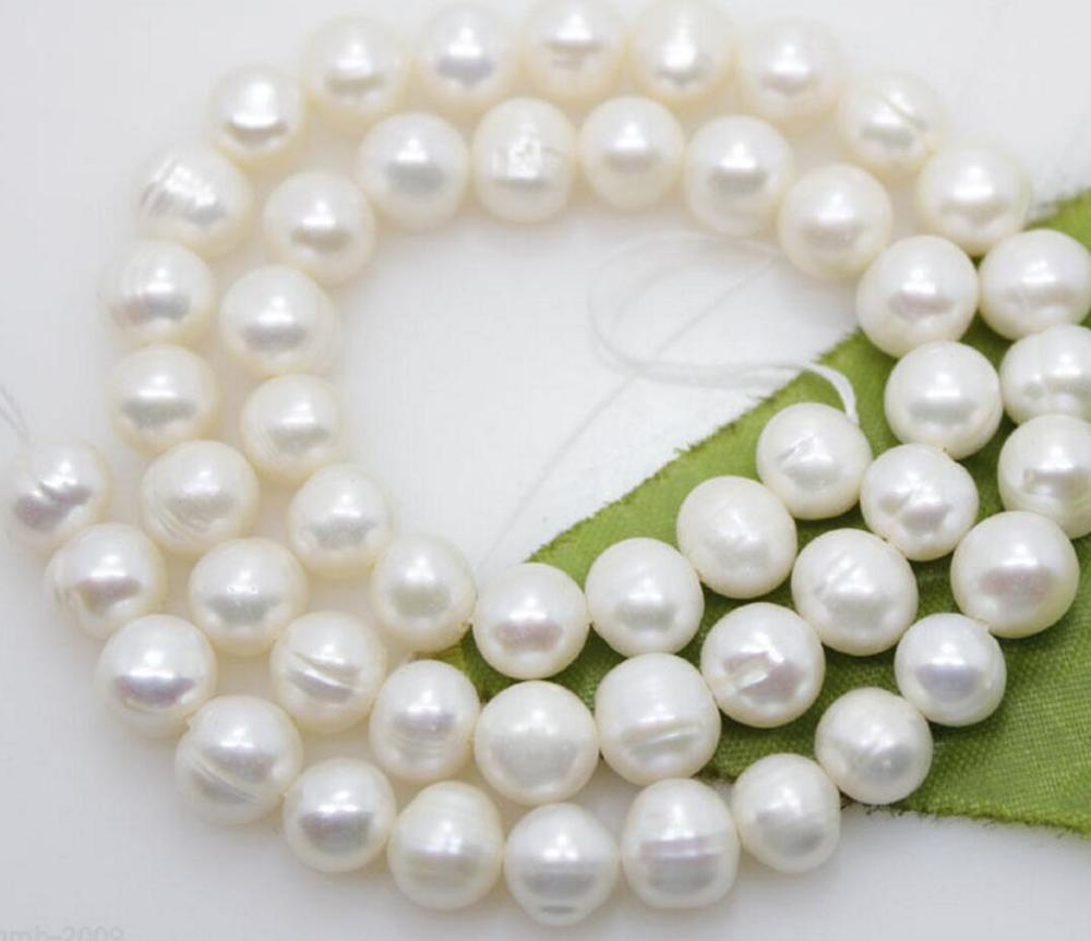 """Details about  /Freshwater Pearl Strand Cultured Pearl Round Natural White 8mm Loose Genuine 15/"""""""