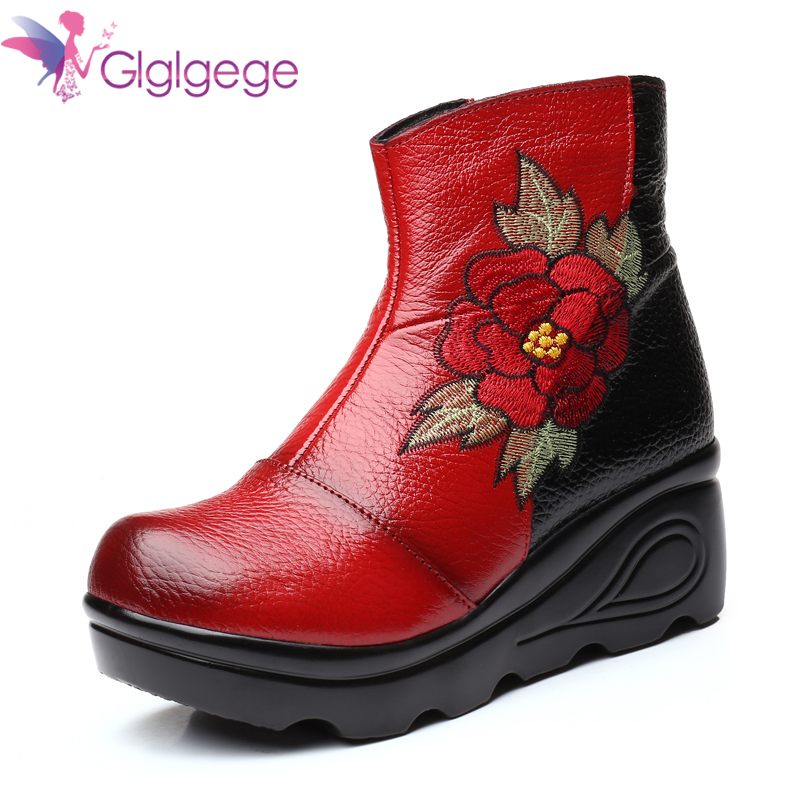 Cheap Glglgege 2019 New Women platform Boots Embroider Ethnic Winter Ankle Boot  Round Toe Wedge Heel Shoes Warm Cowboy Botas Mujer