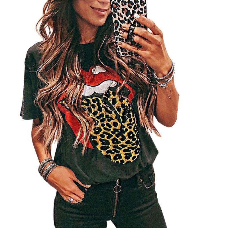2020 Fashion Women Letter Leopard Print T-Shirts Summer Casual Short Sleeve T-Shirts Tops Tee