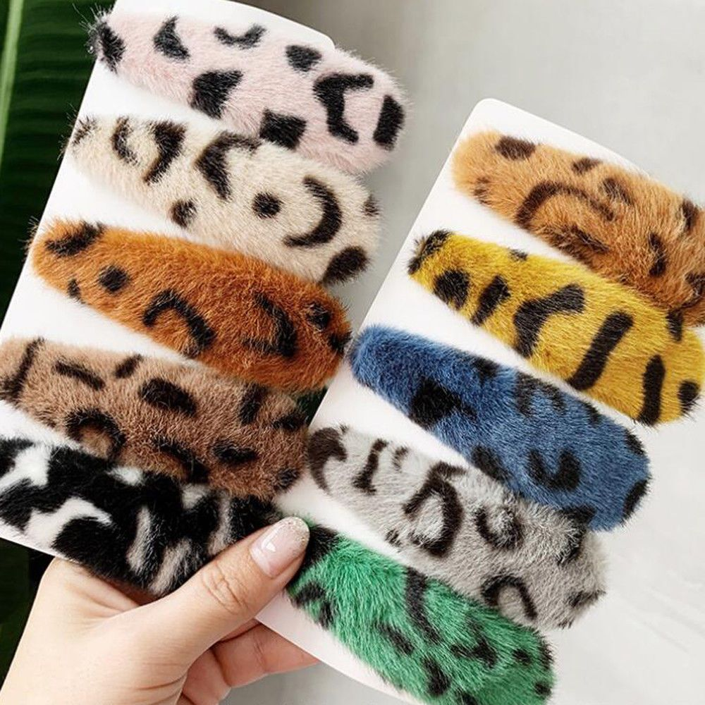 2019 New Fashion Korea Women Japan Acetate Hair Accessories Leopard Plush Hairpin Vintage BB Clips  Beauty Styling Tools