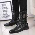 Estilo britânico botas masculinas outono inverno apontou lado zíper botas chelsea sapatos masculinos moda rebite couro masculino meados de bezerro botas 2a