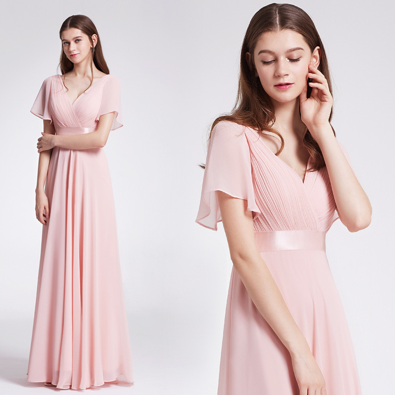 Long Bridesmaid Dress 2021 Chiffon Plus Size Pink Sweet Slim Maid of Honor Dress with Short Sleeves Floor Lenghth Black Gowns