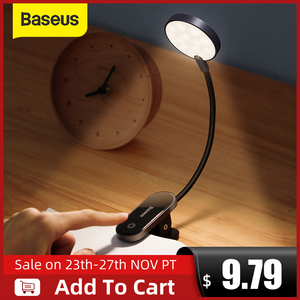Baseus LED Clip Table Lamp Stepless Dimmable Wireless Desk Lamp Touch USB Rechargeable Reading Light LED Night Light Laptop Lamp