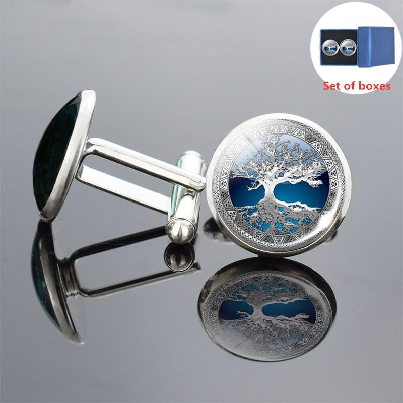Silver Tree Of Life Art Print Cufflinks Men Cufflinks Glass Cabochon Cufflinks Yinyang Tree Cufflinks Wedding Pins Jewelry