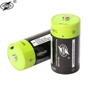 цена на ZNTER 4pcs 1.5V rechargeable battery Lithium li-polymer 3000mAh C size USB C type Li-ion powerful battery USB charging cable
