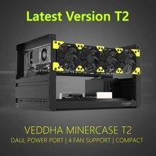 VEDDHA 6 GPU T2 madenci madencilik teçhizatı alüminyum istiflenebilir açık hava vaka bilgisayar ETH çerçeve rig için bitcon Miner kiti