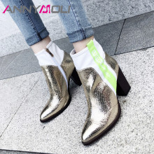 ANNYMOLI Fall Ankle Boots Women Snake Print Thick Heels Short Boots Mixed Colors Extreme High Heel Shoes Ladies Gold Size 34-39