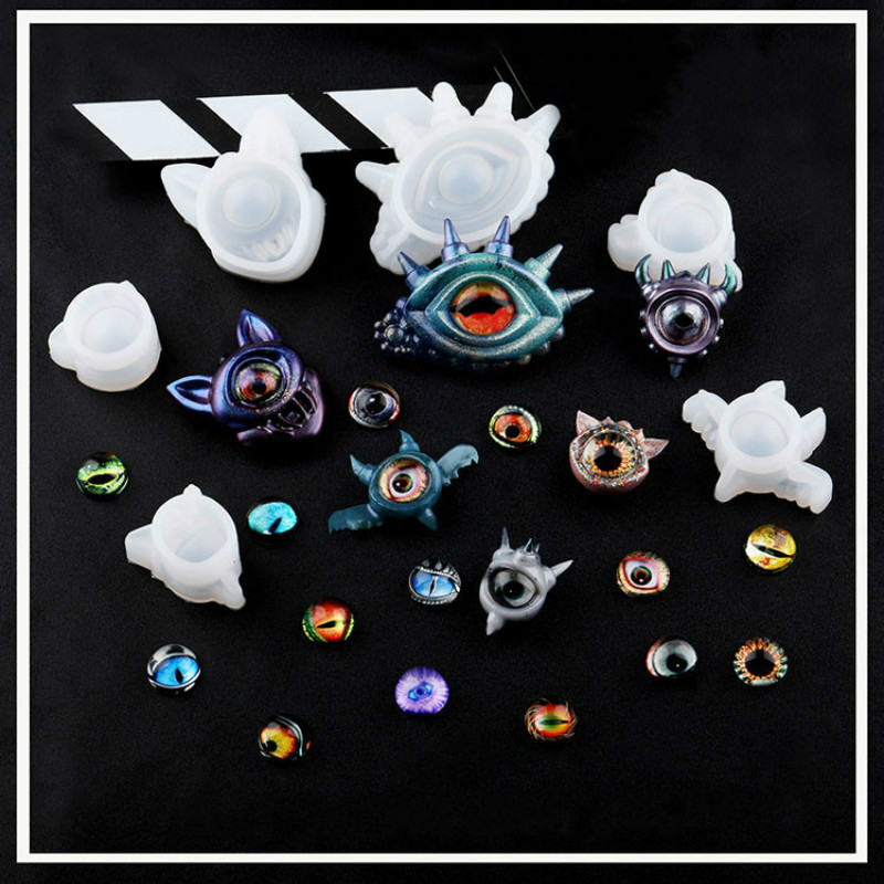 Demon Eyes Silicone Resin Jewelry Molds UV Resin Pendant Mold Jewelry Accessories Tools Halloween Stuff Decoration Making