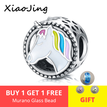Fit pandora Bracelet sterling silver 925 round Colorful enamel Horse Animal charm Beads fine jewelry for women gift Top sale