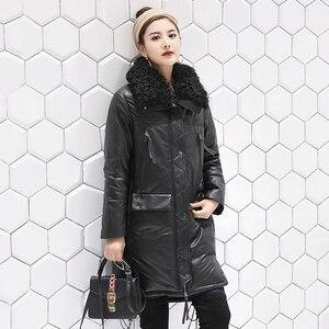 Женская зимняя куртка из натуральной кожи с воротником из натурального меха, пуховик из белой утки, Женская длинная куртка из 100% натурально...