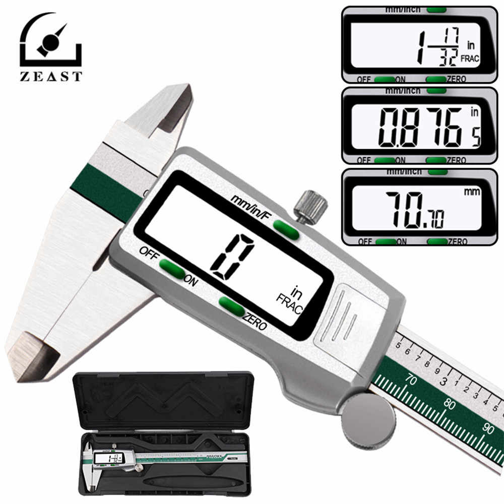 Zeast Digital Stainless Steel Caliper 150 Mm 6 Inci Inci/Metrik/Pecahan Konversi 0.01 Mm Resolusi LCD Display dengan Kotak