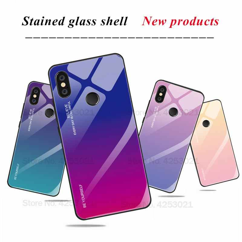 Gradient Tempered Glass Cover For Xiaomi 9T Redmi K20 Note 7 5 6 Pro 6A Case For Xiaomi Mi 8 A2 A3 Lite 6X 5X Pocophone F1 Case
