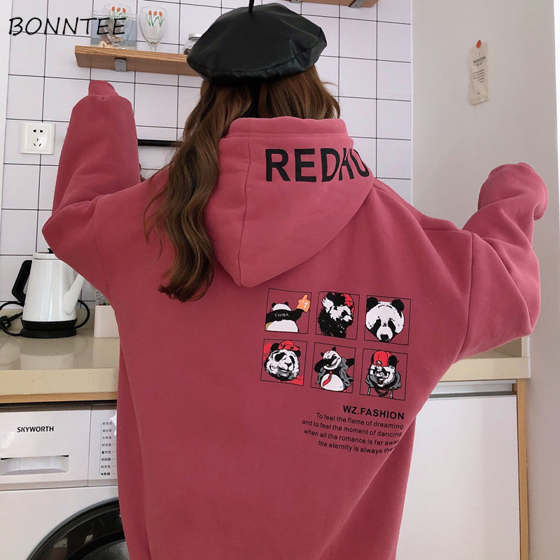 Hoodies Women Hooded Korean Style Thicker Warm Loose Cartoon-printed Kawaii Harajuku Womens BF Novelty Sweatshirts Long Sleeve