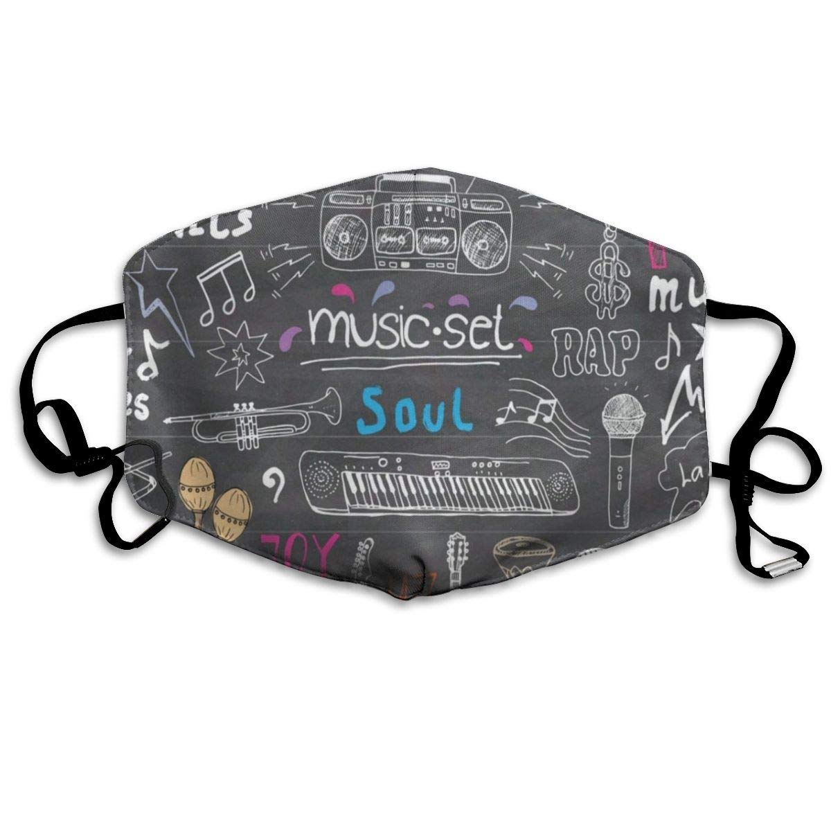 Face Mask Music Items Doodle Stylish Cycling Half Face Earloop Face Mask For Woman