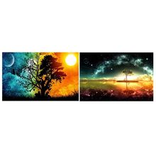 Sunset 5D Full Drill Diamond Painting Kits Dotz Landscape House Village Arts Crafts Wall Decor 12x16inch